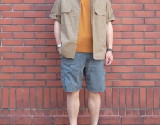 Nigel Cabourn OPEN COLLARED WIDE SHIRT/BIG POCKET T-SHIRT