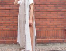 KAPITAL 綿×リネン ストライプパッチワーク ランプドレス