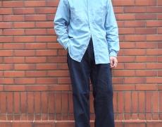 Nigel Cabourn  STAND COLLAR MIX SHIRT INDIGO DOBBY