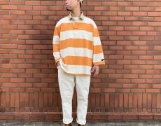 KAPITAL JAILボーダー天竺 ラガーシャツ(七分袖)